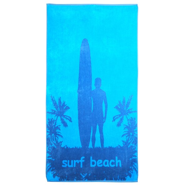 Oversize Jacquard Surfer And Palm Trees 100% Cotton Beach Towel by Winston Porter